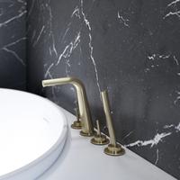 Polished Chrome Stylish Deck Mounted Bathroom Faucet
