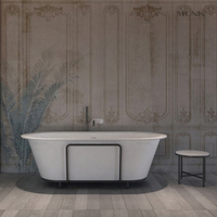 71 Inch Oval Design Solid Surface Freestanding Bathtub