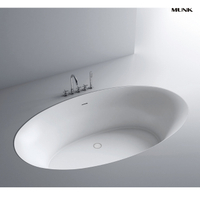 54 Inch Oval Solid Surface Drop-in Bathtub