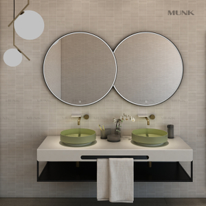 63 Inch Wall-hung Round Double Basin with Cabinet