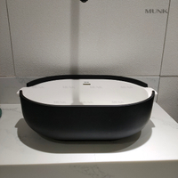 21 Inch Matte Black And White Solid Surface Abovecounter Basin