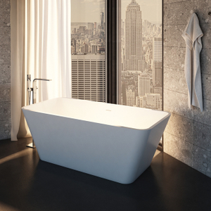 67 Inch Rectangular Solid Surface Freestanding Bathtub