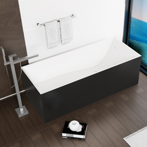 Cozy Rectangular Solid Surface Freestanding Bathtub