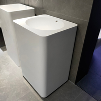 White Pedestal Sink with Overflow Hole